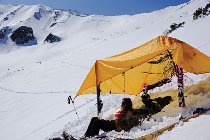 Set up with sun shade for day back country skiing in Happo-Sawa Hakuba