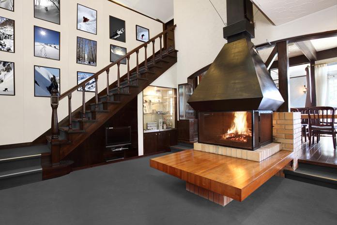 Impressive fireplace at 36 Degrees North Hakuba