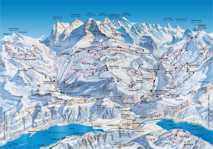 Jungfrau Region winter map