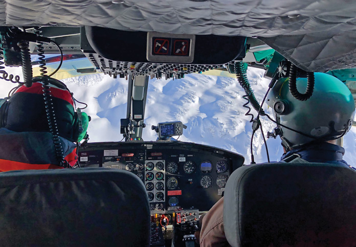 Heliski view from cockpit