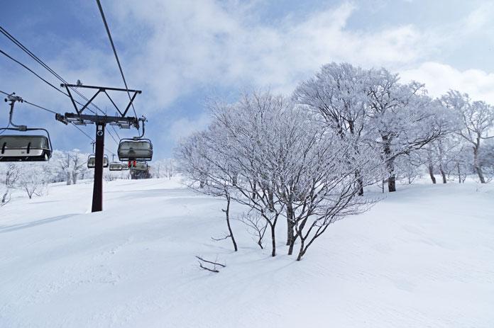 Top of hooded quad chair at Minowa ski area Aizu