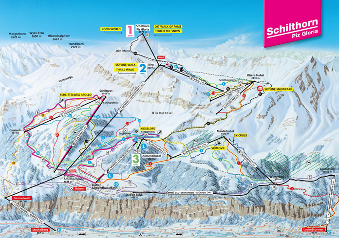 Schilthorn Piz Gloria ski area trail map