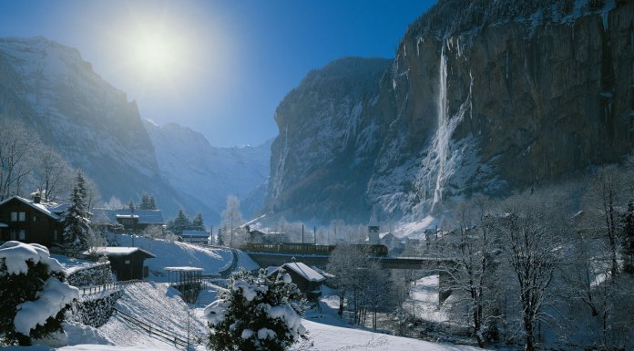 Lauterbrunnen in the Jungfrau one of the amazing ski destinations avaialbel on the Swiss Travel System