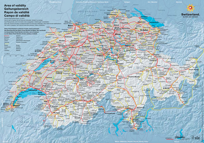 Swiss Travel System route map