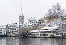 Zurich Old Town after a snowfall