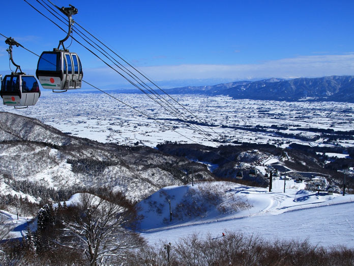 View from the top gondola at Iox-Arosa ski area Nanto City, Toyama Prefecture