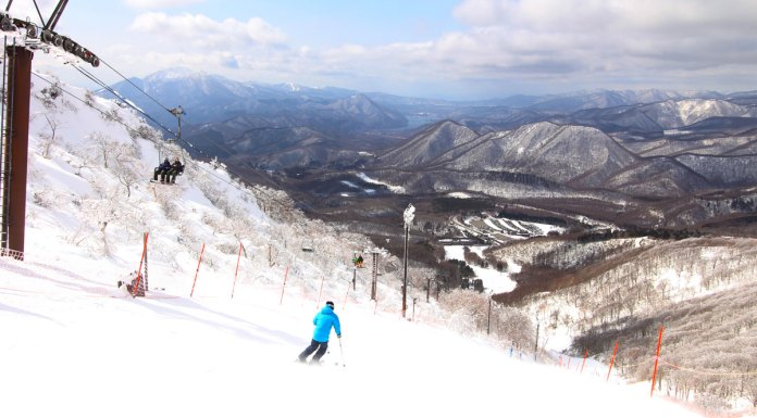 skiing Minowa ski area with a view to Mt Bandai