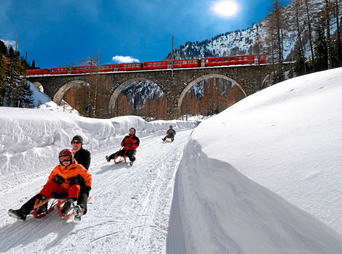 Sledging by train is popular in Switzerland