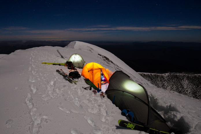 Summit camp on Mt Feathertop as night falls