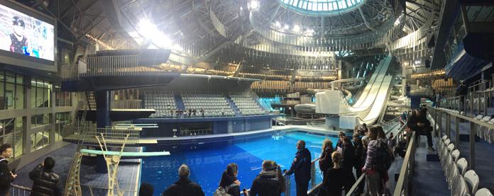 Massive indoor swimming pool Aerials ski training site in Minsk, Belarus