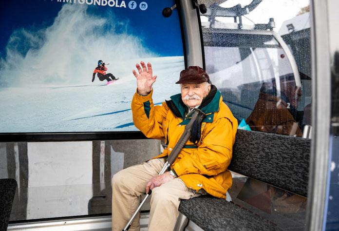 Frank Prihoda gets a 99th birthday ride on the Merrits Gondola at Thredbo
