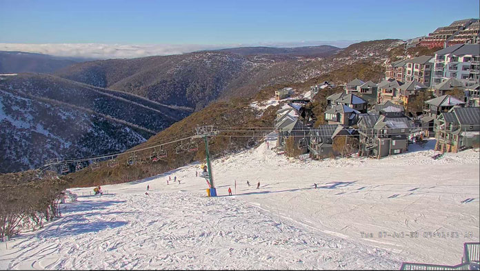 Snowmaking saves the day at Hotham allowing ski in/ski out to operate