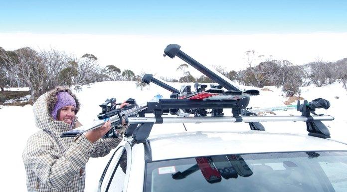 Loading a Rhino-Rack ski and Snowboard Carrier