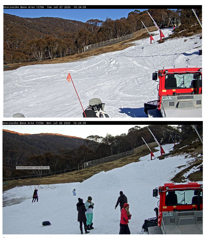 Graphic showing amunt of overnight snowmaking at bottom of Thredbo
