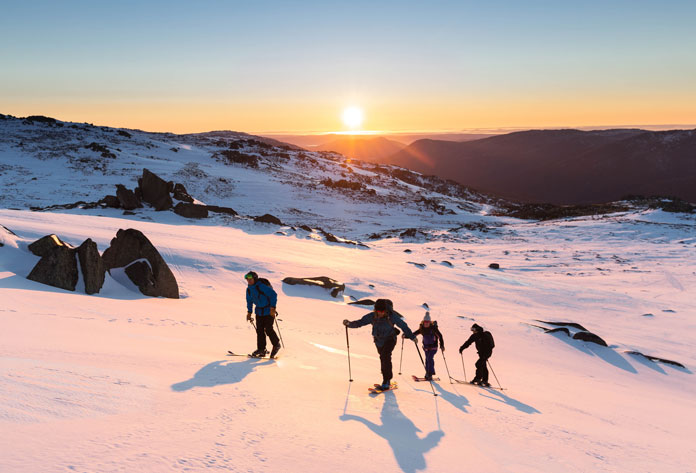 Back country ski tour heading out from top of Thredbo