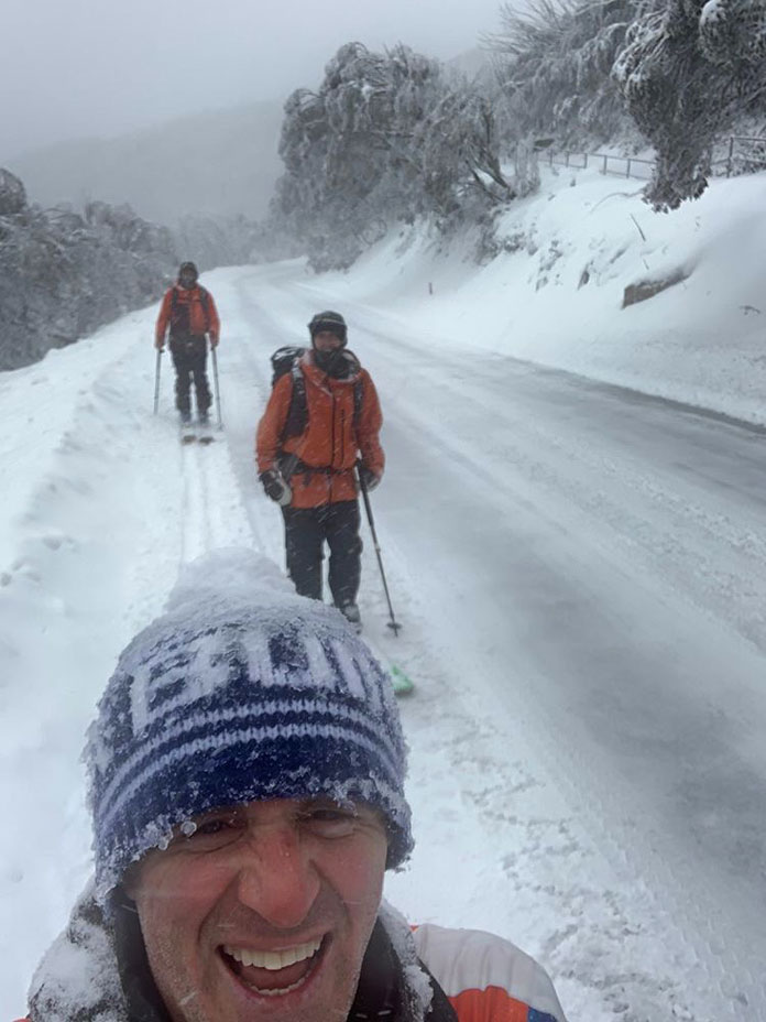 Skiing down the access road at Buller in August