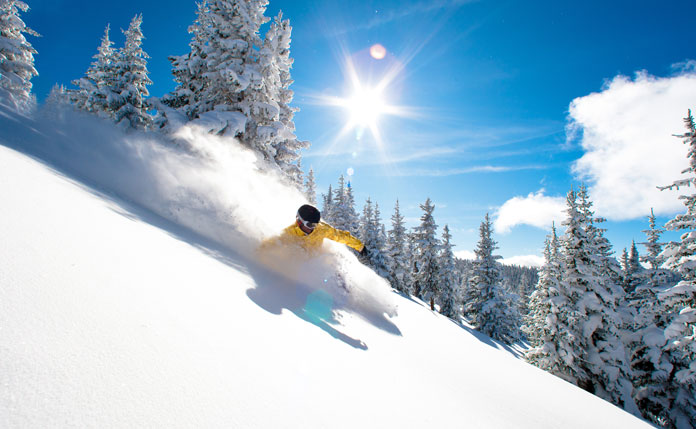 Powder riding in Blue Sky Basin at Vail