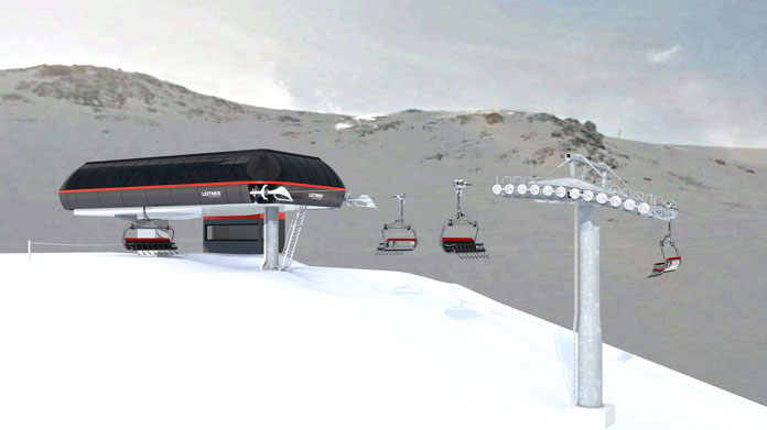 View of top station for new Nor'West 8 seater chairlift at Mt Hutt