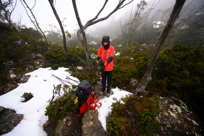 Hiking through rainforest to ski the Du Cane Range in Tasmania