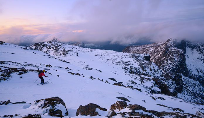 Sunrise skiing on the Du Cane Range, Tasmania