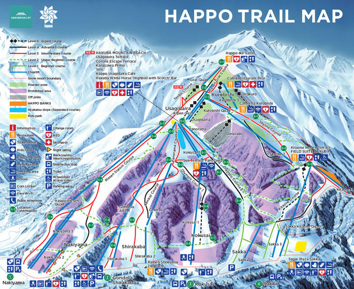 Happo trail map showing Riesen Slalom course