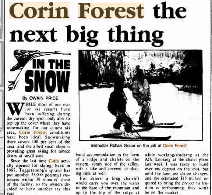 1995 feature on Corin Forest Canberra