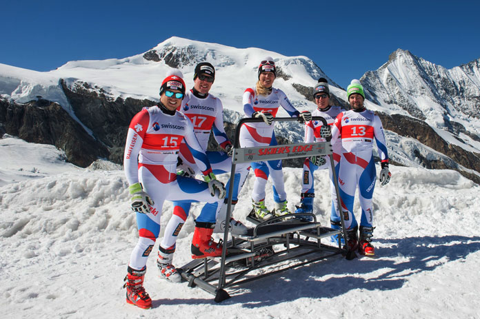 Swiss Ski team with Skier's Edge machine