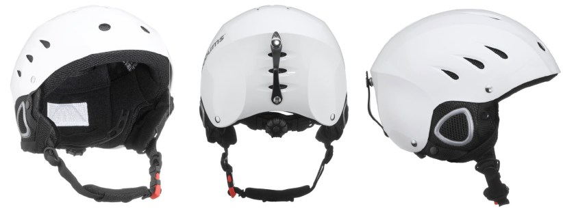Some different angle views of the snowboard and ski helmet