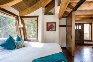 The chalet features the work of local artist Nancy Cawdrey [Ponderosa]