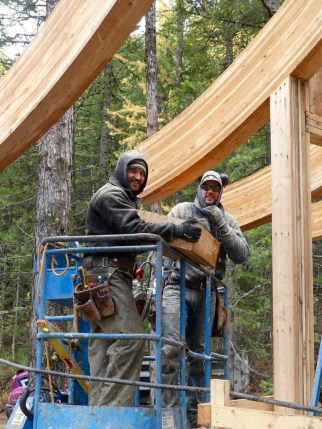 Josi and Roy- more beams being installed by - these guys are so good!