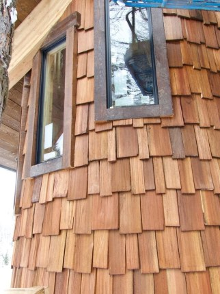 Whimsical cedar shakes on the turret of Ponderosa