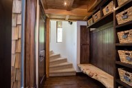 Ponderosa - Entryway with ponderosa pine bench, cubbies and staircase