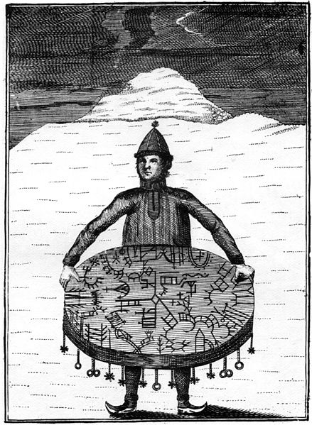 Copper etching (1767) by O.H. von Lode showing a noaidi with his meavrresgárri drum