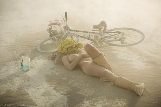 Relaxing at Burning Man.