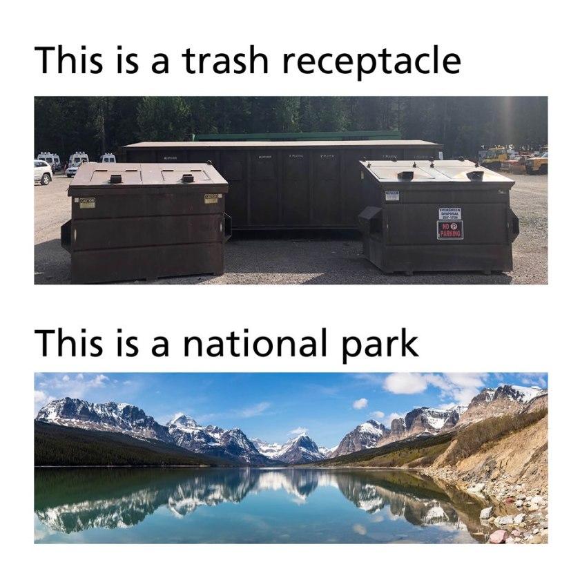 glacier national park, trash, garbage, leave no trace,