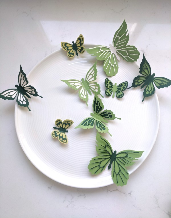 Green set butterfly stickers