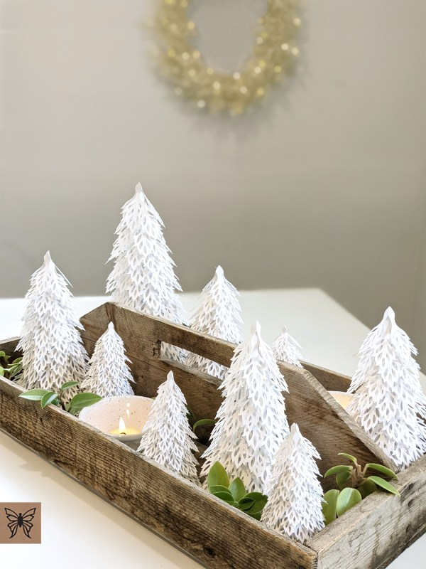 Woodland Christmas Trees table decor, table centerpiece decor DIY, Christmas Table Decor