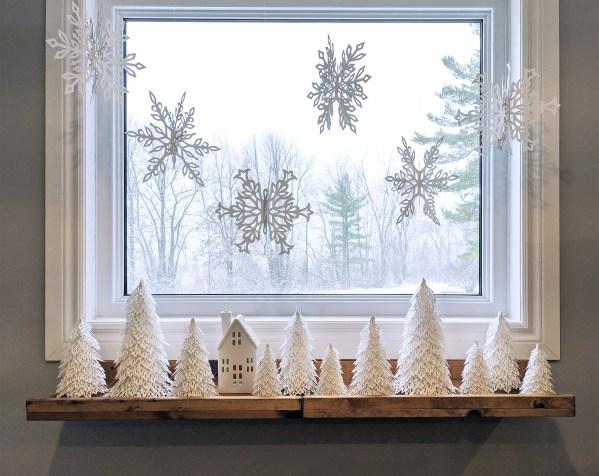 Woodland Christmas Trees, snowflakes, winter wonderland, windowsill decor