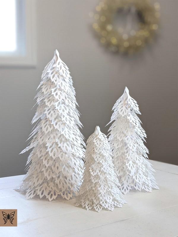 Woodland Christmas Trees, White trees
