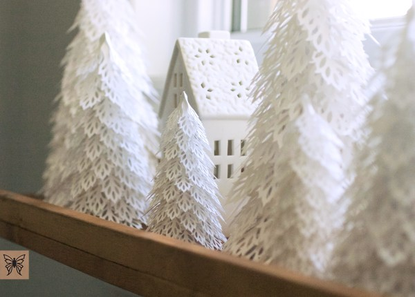 Woodland Christmas Trees, House with paper trees