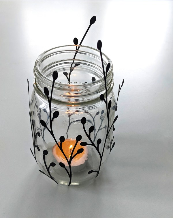DIY Mason Jar candle holder, paper bud stems, paper decor