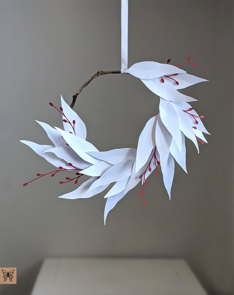 DIY Paper Willow Eucalyptus Wreath, Paper willow wreath hanging