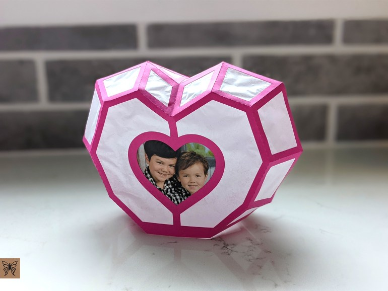 DIY Heart Lantern and Photo Frame in Magenta with photo of kids