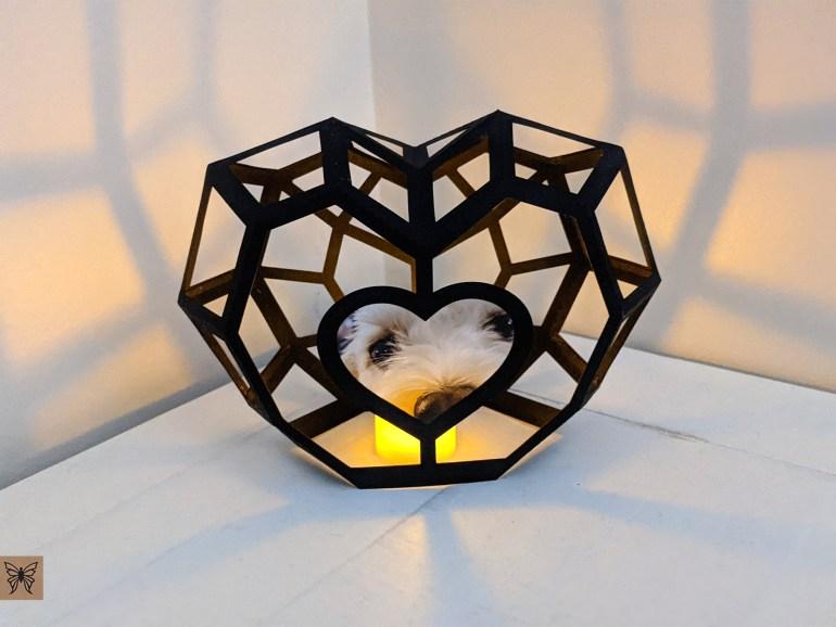 DIY Heart Lantern Black with open cutous