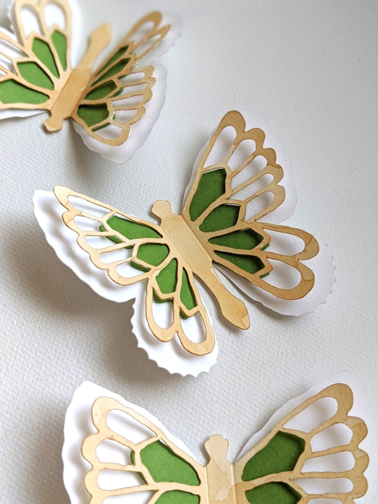 Tea stained Abigail butterfly stickers, green