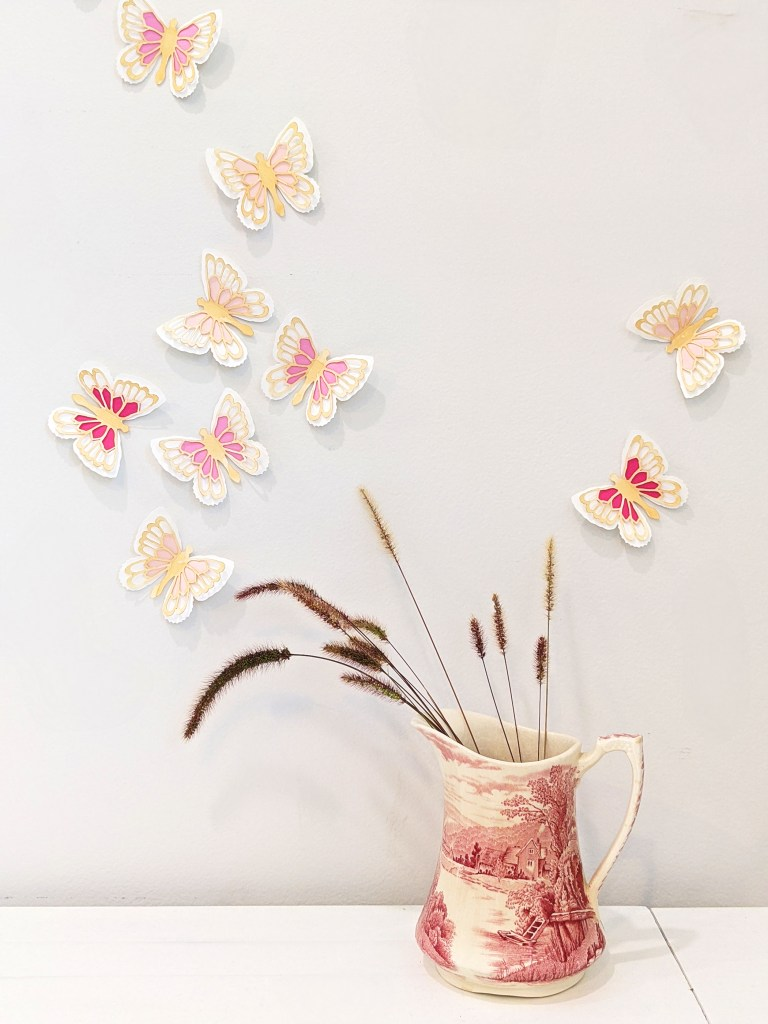 Pink Abigail butterflies as wall stickers