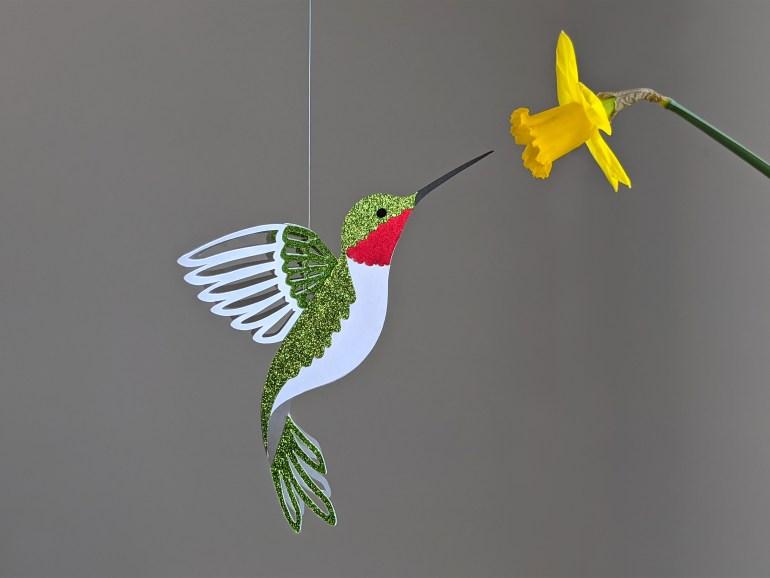 Hummingbird decoration SVG, ruby throated hummingbird