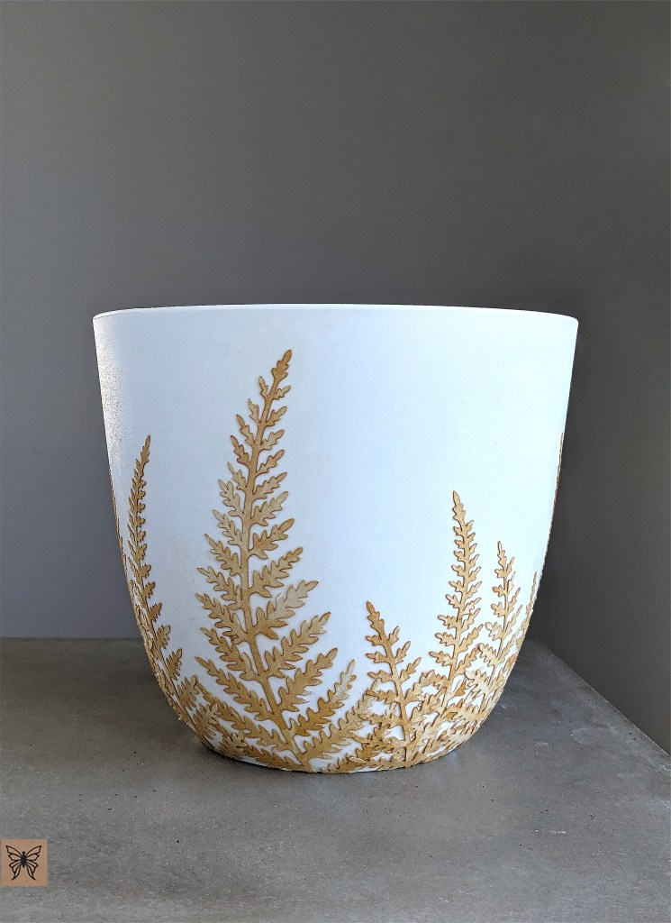 decoupage plaster plant pot with tea stained paper fern leaves svg