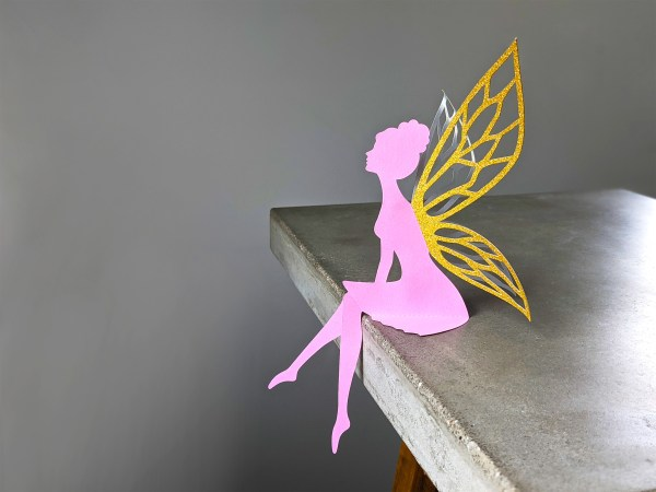 DIY Table Top Fairy SVG Pink and Gold Glitter fairy wings