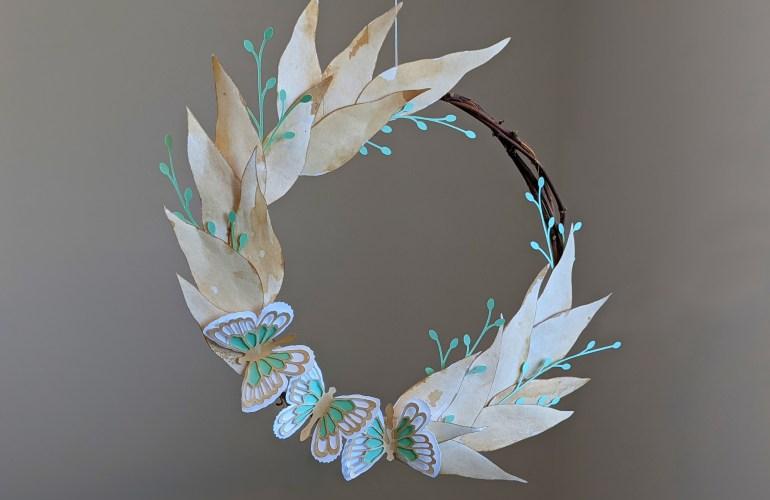 Butterfly Wreath, Fall Wreath, Paper Wreath